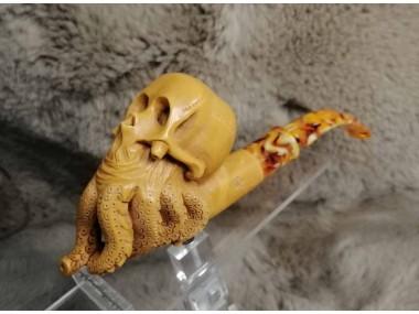 Block Meerschaum Octopus Skull Pipe