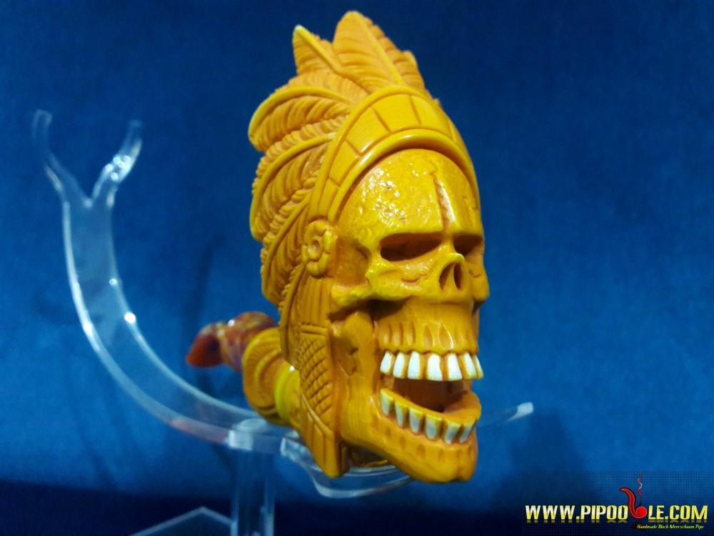 Meerschaum Indian Skull Pipe