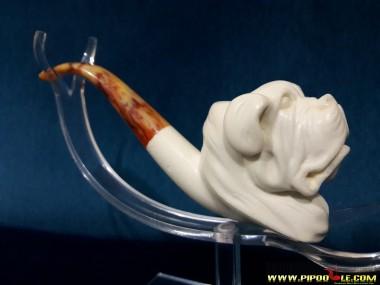 Block Meerschaum Dog Pipe