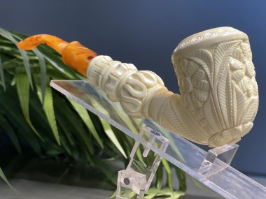 Block Meerschaum Carved Pipe(Two Part)