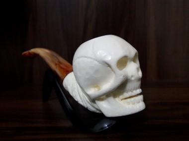 Handmade Block Meerschaum  Skull Pipe
